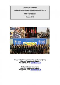 University of Cambridge. Department of Politics and International Studies (POLIS) PhD Handbook. October 2016