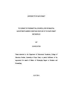 UNIVERSITY OF CAPE COAST ADJUSTMENT AMONG CHRISTIAN COUPLES IN THE CAPE COAST METROPOLIS EUNICE NTIM