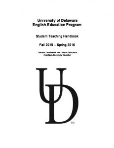 University of Delaware English Education Program