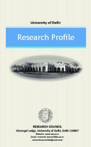 University of Delhi. Research Profile