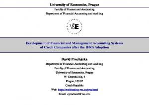 University of Economics, Prague. Faculty of Finance and Accounting Department of Financial Accounting and Auditing