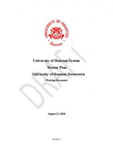 University of Houston System Master Plan University of Houston Downtown