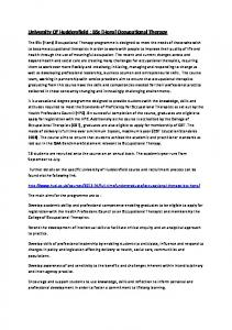 University Of Huddersfield : BSc (Hons) Occupational Therapy