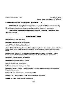 University of Illinois at Springfield graduates 1,199