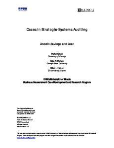 University of Illinois Business Measurement Case Development and Research Program