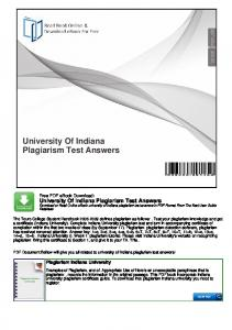 University Of Indiana Plagiarism Test Answers