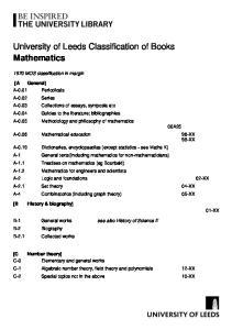 University of Leeds Classification of Books Mathematics