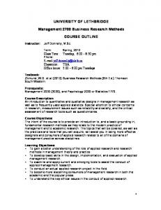 UNIVERSITY OF LETHBRIDGE. Management 2700 Business Research Methods COURSE OUTLINE