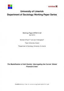 University of Limerick Department of Sociology Working Paper Series