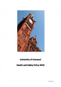 University of Liverpool Health and Safety Policy 2016