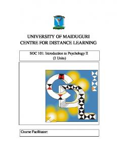 UNIVERSITY OF MAIDUGURI CENTRE FOR DISTANCE LEARNING