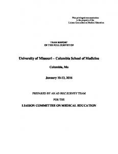 University of Missouri Columbia School of Medicine