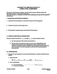 UNIVERSITY OF MISSOURI-KANSAS CITY CONSULTING AGREEMENT
