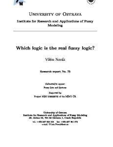 University of Ostrava. Which logic is the real fuzzy logic?