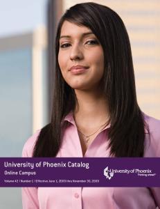 University of Phoenix Catalog Online Campus