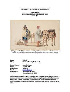 UNIVERSITY OF PRINCE EDWARD ISLAND HISTORY 325 CANADIAN SOCIAL HISTORY TO WWI FALL 2014