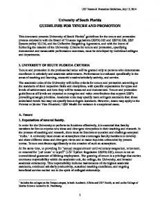 University of South Florida GUIDELINES FOR TENURE AND PROMOTION