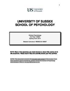 UNIVERSITY OF SUSSEX SCHOOL OF PSYCHOLOGY