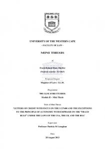 UNIVERSITY OF THE WESTERN CAPE MINI THESIS