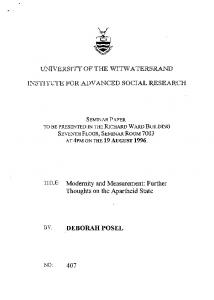 UNIVERSITY OF THE WITWATERSRAND INSTITUTE FOR ADVANCED SOCIAL RESEARCH