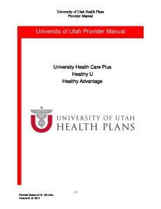 University of Utah Provider Manual