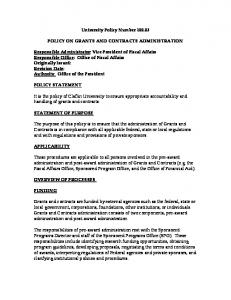 University Policy Number POLICY ON GRANTS AND CONTRACTS ADMINISTRATION