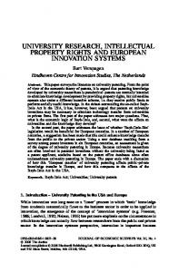 UNIVERSITY RESEARCH, INTELLECTUAL PROPERTY RIGHTS AND EUROPEAN INNOVATION SYSTEMS