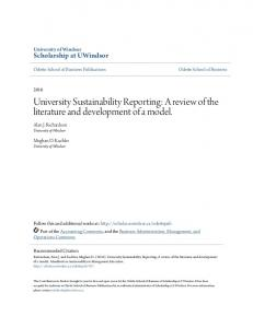 University Sustainability Reporting: A review of the literature and development of a model