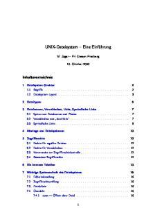 UNIX-Dateisystem Eine Einführung