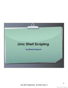 Unix Shell Programming by Dinesh Kumar S