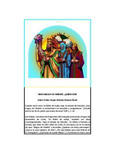 UNOS MAGOS DE ORIENTE, QUIEN SON? Autor: Pedro Sergio Antonio Donoso Brant