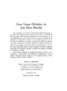 Unos Versos Olvidados de Jose Maria Heredia