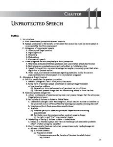 UNPROTECTED SPEECH CHAPTER. Outline