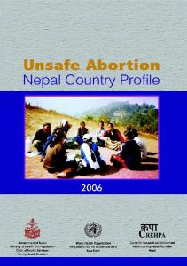 Unsafe Abortion. Nepal Country Profile. skf CREHPA. July Nepal Country Profile Ministry of Health and Population