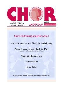 Unsere Fortbildung bringt Sie weiter: Chorleiterinnen- und Chorleiterausbildung. Chorleiterinnen- und ChorleiterChor. Singen im Frauenchor