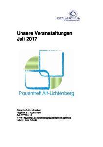 Unsere Veranstaltungen Juli 2017
