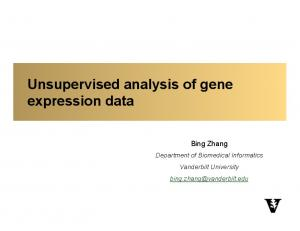 Unsupervised analysis of gene expression data