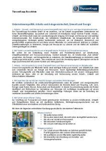 Unternehmenspolitik: Arbeits-und Anlagensicherheit, Umwelt und Energie