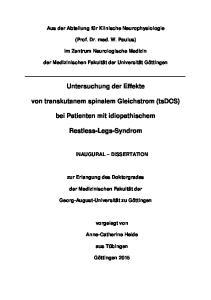 Untersuchung der Effekte. von transkutanem spinalem Gleichstrom (tsdcs) bei Patienten mit idiopathischem. Restless-Legs-Syndrom