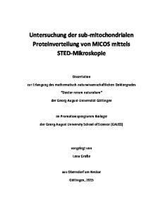 Untersuchung der sub-mitochondrialen Proteinverteilung von MICOS mittels STED-Mikroskopie