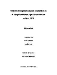 Untersuchung molekularer Interaktionen in der pflanzlichen Signaltransduktion mittels FCS