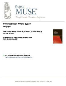 Untranslatables: A World System