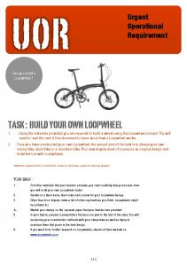 UOR TASK : BUILD YOUR OWN LOOPWHEEL. Urgent Operational Requirement. Can you build a Loopwheel?