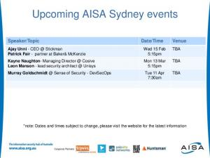 Upcoming AISA Sydney events