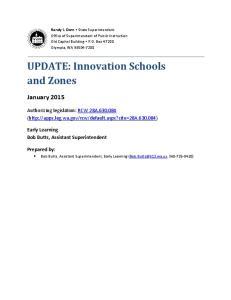 UPDATE: Innovation Schools and Zones