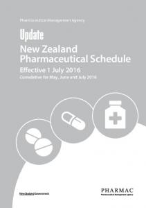 Update New Zealand Pharmaceutical Schedule Effective 1 July 2016 Cumulative for May, June and July 2016