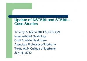 Update of NSTEMI and STEMI Case Studies