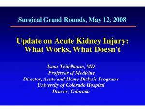 Update on Acute Kidney Injury: What Works, What Doesn t