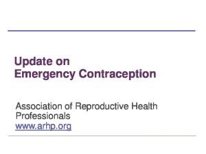 Update on Emergency Contraception. Association of Reproductive Health Professionals