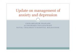 Update on management of anxiety and depression
